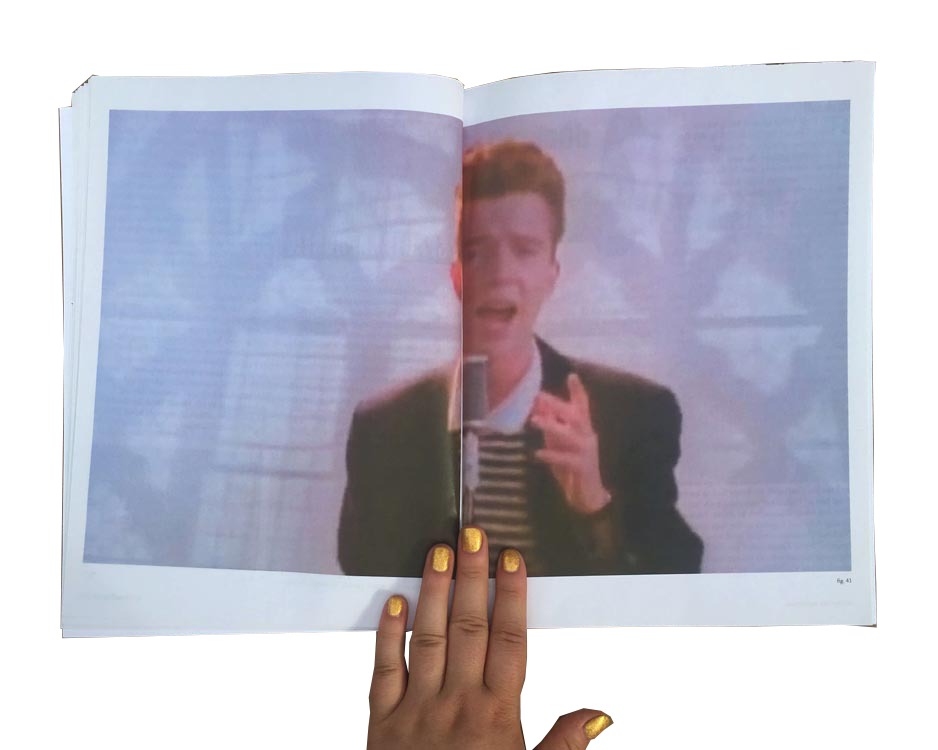 full spread of rickrolling still