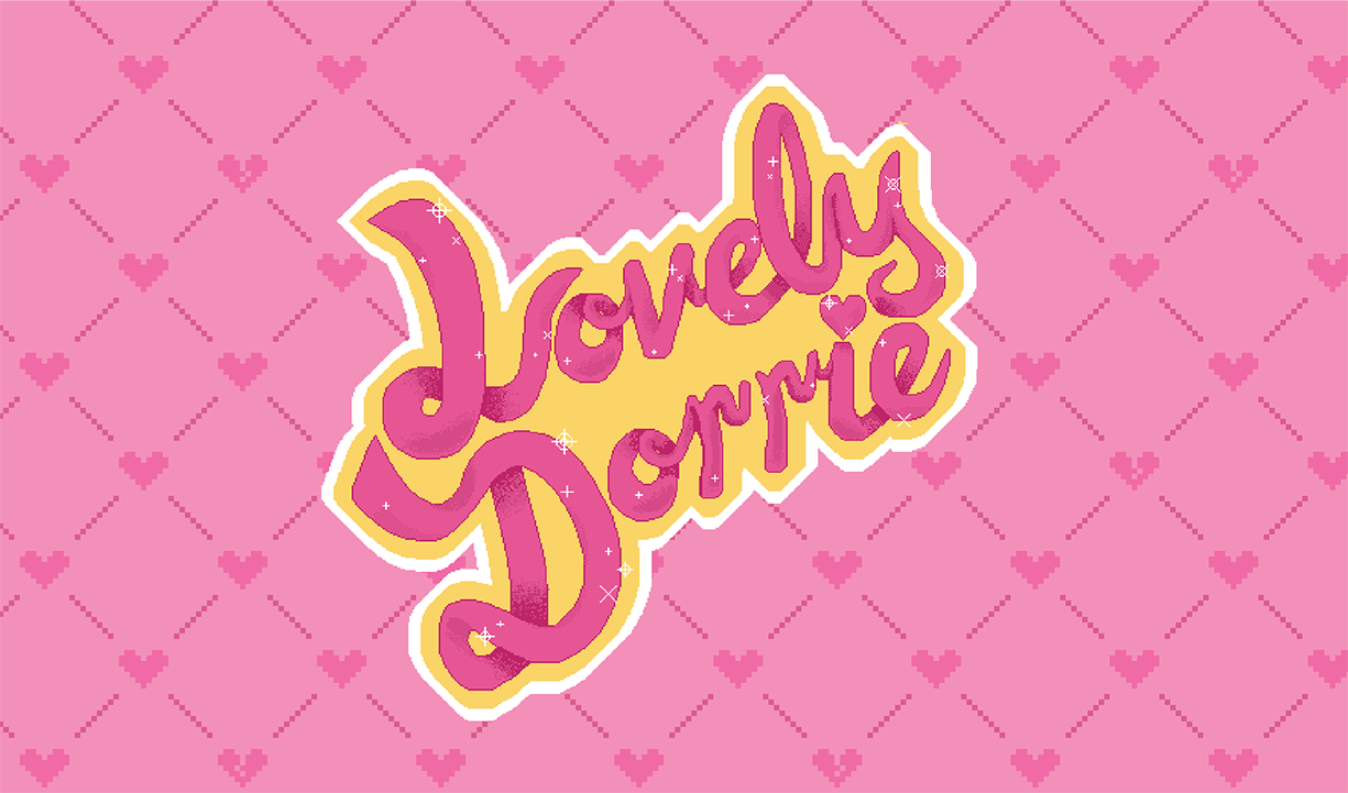 business card back, rounded script logo reading 'LovelyDorrie' in pink with a yellow and white outline, large and centered on a pink background with a darker pink repeating hearts and broken hearts pattern.