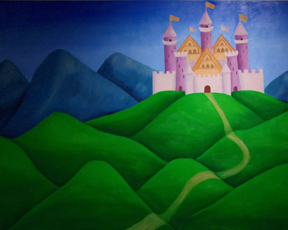 painting of fairy tale castle on rolling hills