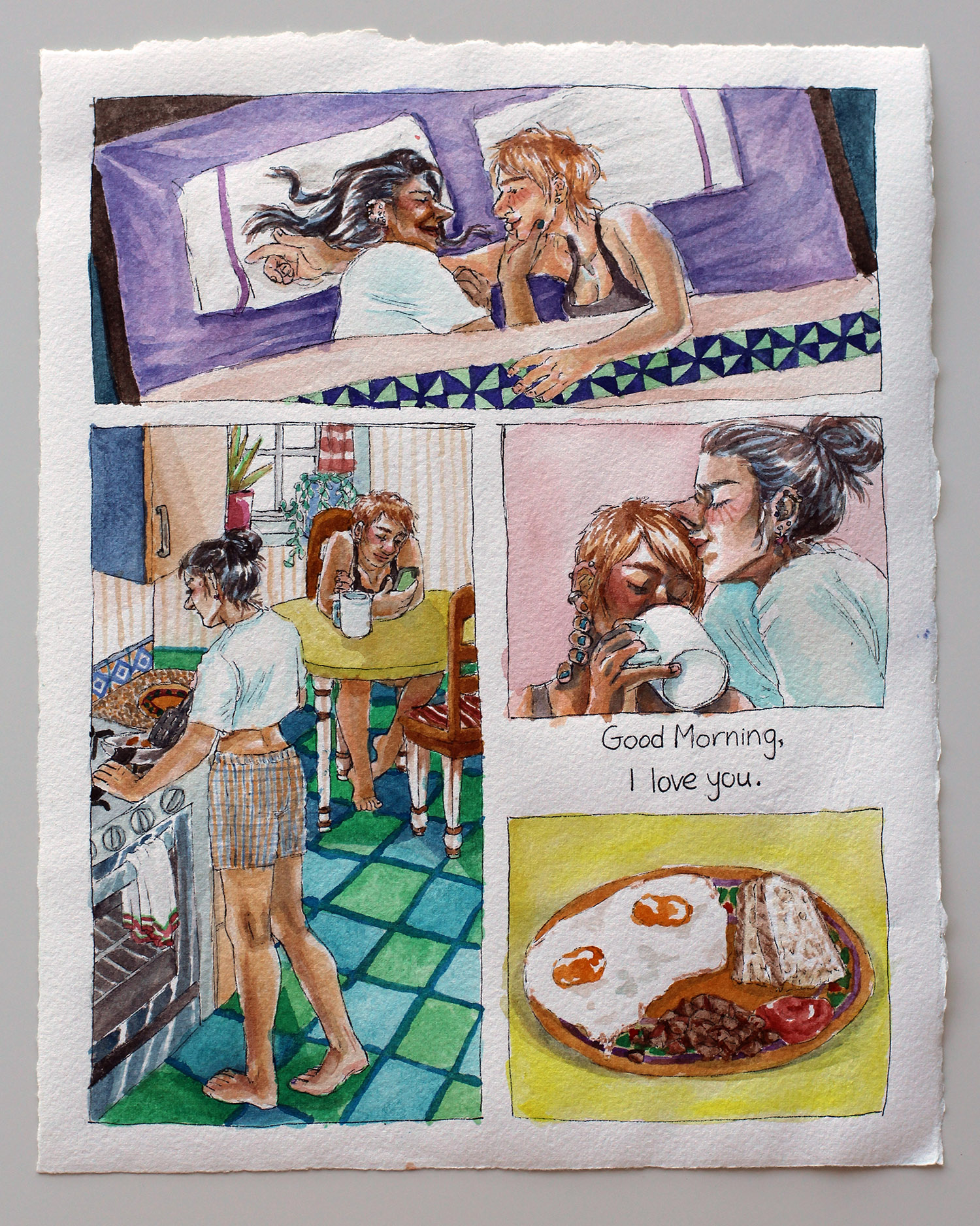 watercolor single page comic. top panel: two women in bed facing each other. left panel: woman makes breakfast while other woman sits at table. right panel, top: woman kissing other woman's forehead. right panel, bottom: plate of eggs, bread, potatoes. in between right panels, text reading 'good morning, i love you'